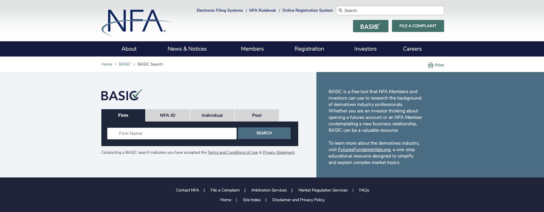 Background Affiliation Status Information Center (BASIC)