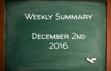 Weekly Trading Summary - December 2nd 2016